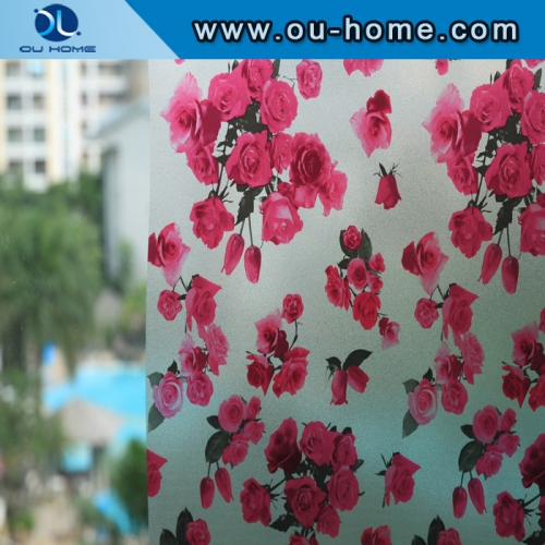 H22068 Flower stained static decorative glass film