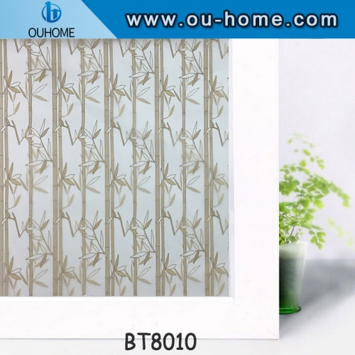 Bamboo Design Self Adhesive Stained Frosted Vinyl Privacy Window Film