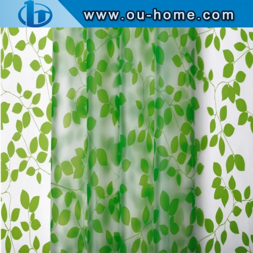 Stained green leaves glass window PVC privacy window film