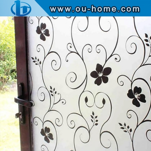 Stained black fllower glass window privacy window film