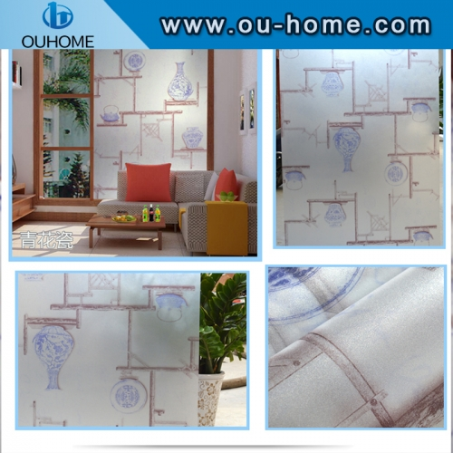 BT836 Blue and white porcelain self-adhesive frosted glass film