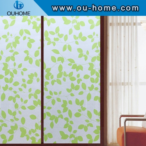 BT847 Stained green leaves glass window PVC privacy window film