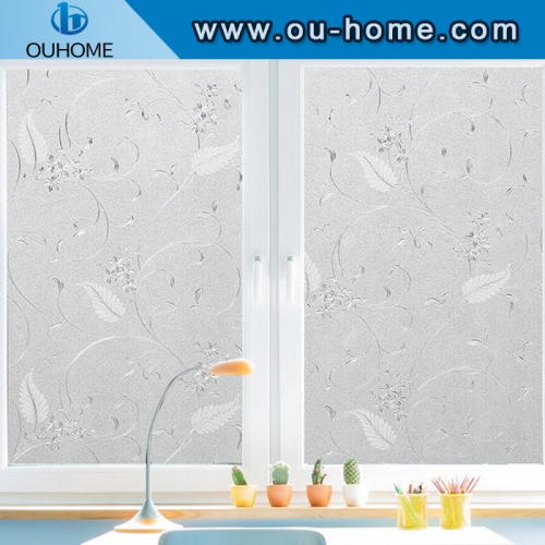 H606White flower rattan curve frosted glass protective window film