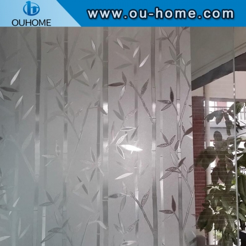 H610 Bamboo pattern embossed frosted static glass decorative film
